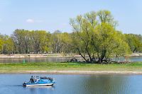 Angler in einem Motorboot auf der Oder, Kienitz, Gemeinde Letschin, Oderbruch, Oder-Neiße-Radweg, Märkisch Oderland, Brandenburg, Deutschland