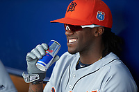 Detroit Tigers outfielder Cameron Maybin (4) drinks a Red Bull in the dugout before a Spring Training game against the New York Yankees on March 2, 2016 at George M. Steinbrenner Field in Tampa, Florida.  New York defeated Detroit 10-9.  (Mike Janes/Four Seam Images)