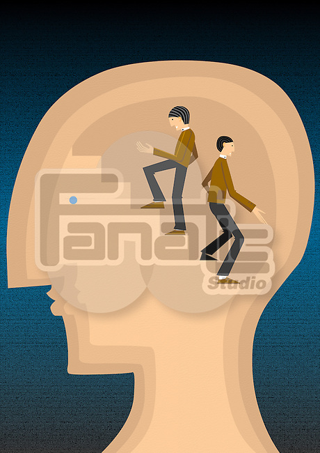 Conceptual shot of confused business person's head showing ups and downs