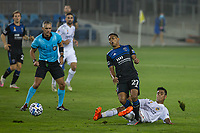 SAN JOSE, CA - SEPTEMBER 13: Marcos Lopez #27 of the San Jose Earthquakes gets fouled by Efrain Alvarez #26 of the L.A. Galaxy during a game between Los Angeles Galaxy and San Jose Earthquakes at Earthquakes Stadium on September 13, 2020 in San Jose, California.