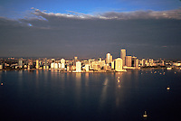 Aerial view of the Miami city skyline and harbor. Florida.