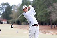 PINEHURST, NC - MARCH 02: Ross Funderburke of Augusta University tees off on the second hole at Pinehurst No. 2 on March 02, 2021 in Pinehurst, North Carolina.