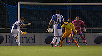 Matty Taylor of Bristol Rovers  scores a goal to make it 1-0 during the Johnstone's Paint Trophy match between Bristol Rovers and Wycombe Wanderers at the Memorial Stadium, Bristol, England on 6 October 2015. Photo by Andy Rowland.