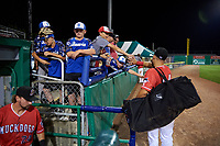 Batavia Muckdogs Andres Sthormes (44) high fives young fans after a NY-Penn League game against the Lowell Spinners on July 11, 2019 at Dwyer Stadium in Batavia, New York.  Batavia defeated Lowell 5-2.  (Mike Janes/Four Seam Images)