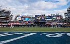 November 17, The Notre Dame Marching Band performs on the field before the Shamrock Series football game against Syracuse in Yankee Stadium, New York. (Photo by Barbara Johnston/University of Notre Dame)