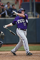 February 22 2009: Matt Curry of the TCU Horned Frogs during game against the CSUF Titans at Goodwin Field in Fullerton,CA.  Photo by Larry Goren/Four Seam Images