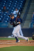 Tampa Tarpons Donny Sands (33) hits a single during a Florida State League game against the Daytona Tortugas on May 17, 2019 at George M. Steinbrenner Field in Tampa, Florida.  Daytona defeated Tampa 8-6.  (Mike Janes/Four Seam Images)