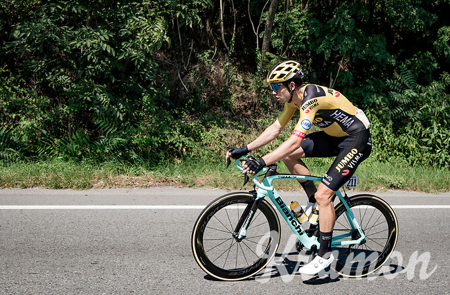 evantual race winner Wout Van Aert (BEL/Jumbo-Visma) during the re-routed/re-sheduled 'La Primavera' (Spring) in summer!<br /> <br /> 111st Milano-Sanremo 2020 (1.UWT)<br /> 1 day race from Milano to Sanremo (305km)<br /> <br /> the postponed edition > exceptionally held in summer because of the Covid-19 pandemic calendar reshuffle