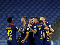 Football, Serie A: AS Roma - Hellas Verona Fc, Olympic stadium, Rome, July 15, 2020. <br /> Roma's Jordan Veretout (c) celebrates with his teammates after scoring during the Italian Serie A football match between Roma and Hellas Verona at Rome's Olympic stadium, on July 15, 2020. <br /> UPDATE IMAGES PRESS/Isabella Bonotto