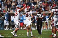 Arkansas Cam Little (29) kicks a field goal, Saturday, October 9, 2021 during the third quarter of a football game at Vaught Hemingway Stadium in Oxford, Miss. Check out nwaonline.com/211010Daily/ for today's photo gallery. <br /> (NWA Democrat-Gazette/Charlie Kaijo)