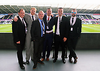 Letou CEO Paul Fox (2nd R) with friends and colleagues during the English Premier League soccer match between Swansea City and Manchester United at Liberty Stadium, Swansea, Wales, UK. Saturday 18 August 2017
