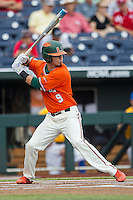 Miami Hurricanes outfielder Carl Chester (9) at bat against the UC Santa Barbara Gauchos in Game 5 of the NCAA College World Series on June 20, 2016 at TD Ameritrade Park in Omaha, Nebraska. UC Santa Barbara defeated Miami  5-3. (Andrew Woolley/Four Seam Images)