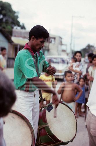Recife, Brazil. Maracatu drummer. Pernambuco State.