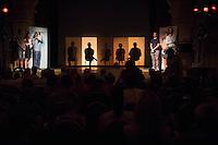 Veranstaltung der Reihe GehtAuchAnders mit einer Diskussion zur Berliner Abgeordnetenhauswahl 2016 im Heimathafen Neukoelln.<br /> Die Initiative hatte sechs Kandidaten der wahrscheinlich in der kommenden Legislaturperiode im Abgeordnetenhaus vertretenen Parteien zu einer Diskussion eingeladen. Die Kandidaten mussten sich in einer ersten Runde anonym Fragen von stadtpolitischen Gruppen stellen. Im Anschluss gab es eine Podiumsdiskussion zu stadtpolitischen Themen, bei der die Kandidaten fuer das Publikum sichtbar waren.<br /> Als Diskutanten nahmen teil: Dr. Matthias Kollatz-Ahnen, (SPD) Finanzsenator; Christian Goiny, MdA (CDU), medienpolitischer Sprecher Katrin Lompscher; MdA (Linkspartei), stellv. Fraktionsvorsitzende und Sprecherin fuer Stadtentwicklung, Bauen und Wohnen; Antje Kapek, MdA (Buendnis 90/Die Gruenen), Fraktionsvorsitzende und Spitzenkandidatin;  Bernd Schloemer (FDP), Spitzenkandidat Friedrichshain-Kreuzberg und ehem. Vorsitzender Piratenpartei; Karsten Woldeit (AfD), Platz 2 der Landesliste und Direktkandidat in Lichtenberg. Moderiert wurde die Veranstaltung von P.R. Kantate (Musiker) und Jakob Preuss (Filmemacher).<br /> Die Veranstaltung wurde von lautstarken Protesten ausserhalb und innerhalb des Veranstaltungssaal begleitet. Zwischen Anhaengern der rassistischen AfD und AfD-Gegnern kam es zu Poebeleien und Beleidigungen. Ordner verwiesen mehrere Personen aus dem Veranstaltungssaal.<br /> Die Veranstalter von GehtAuchAnders, Kuenstler aus Berlin, veranstalten in unregelmaessigen Abstaenden Diskussionsabende zu politischen Themen.<br /> Im Bild: Die Teilnehmer sind fuer das Publikum nicht erkennbar.<br /> 13.9.2016, Berlin<br /> Copyright: Christian-Ditsch.de<br /> [Inhaltsveraendernde Manipulation des Fotos nur nach ausdruecklicher Genehmigung des Fotografen. Vereinbarungen ueber Abtretung von Persoenlichkeitsrechten/Model Release der abgebildeten Person/Personen liegen nicht vor. NO MODEL RELEASE! Nur fuer Redaktionelle Zwecke. Don't publish w