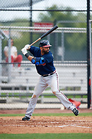 Atlanta Braves third baseman Jose Bautista (1) at bat in the top of the third inning during a Minor League Extended Spring Training game against the Philadelphia Phillies on April 20, 2018 at Carpenter Complex in Clearwater, Florida.  (Mike Janes/Four Seam Images)
