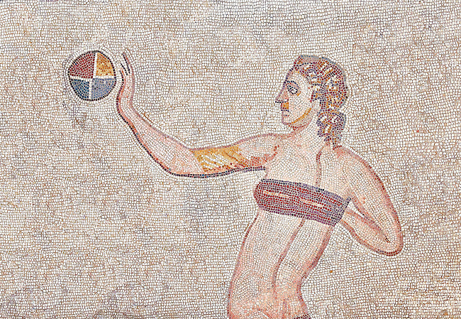 Mosaic detail of a women with a red bikini playing with a ball, from the Room of the Ten Bikini Girls, room no 30 at the Villa Romana del Casale which containis the richest, largest and most complex collection of Roman mosaics in the world. Constructed in the first quarter of the 4th century AD. Sicily, Italy. A UNESCO World Heritage Site.