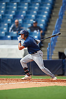 Greg Veliz (14) of Key West High School in Key West, Florida playing for the Tampa Bay Rays scout team during the East Coast Pro Showcase on July 28, 2015 at George M. Steinbrenner Field in Tampa, Florida.  (Mike Janes/Four Seam Images)
