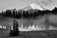 Mt. Rainier and Tipsoo Lake with sunrise and fog. Mt. Rainier National Park. Washington