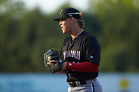 Kannapolis Intimidators first baseman Corey Zangari (22) on defense against the Hickory Crawdads at L.P. Frans Stadium on July 20, 2018 in Hickory, North Carolina. The Crawdads defeated the Intimidators 4-1. (Brian Westerholt/Four Seam Images)
