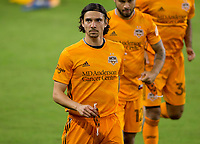 CARSON, CA - OCTOBER 28: Zarek Valentin #4 of the Houston Dynamo during a game between Houston Dynamo and Los Angeles FC at Banc of California Stadium on October 28, 2020 in Carson, California.