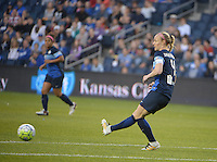 Kansas City, Kansas - Saturday April 16, 2016: FC Kansas City defender Becky Sauerbrunn (4) kicks the ball against Western New York Flash at Children's Mercy Park. Western New York won 1-0.