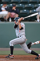 Carter Bell #2 of the Oregon State Beavers bats against the UCLA Bruins at Jackie Robinson Stadium in Los Angeles,California on April 29, 2011. Photo by Larry Goren/Four Seam Images