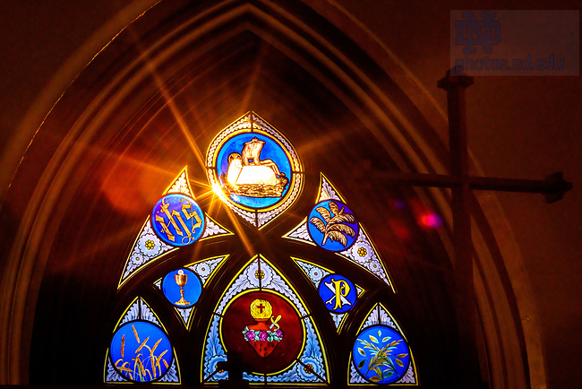 July 22, 2021; Stained glass in the Basilica of the Sacred Heart (Photo by Matt Cashore/University of Notre Dame)