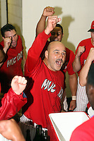 September 15 2008:  Mark DeJohn of the Batavia Muckdogs, Class-A affiliate of the St. Louis Cardinals, celebrate winning the NY-Penn League championship after a game at Dwyer Stadium in Batavia, NY.  Photo by:  Mike Janes/Four Seam Images