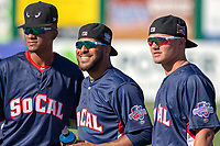 Edward Olivares (5) of the Lake Elsinore Storm, Pedro Avila (13) of the Lake Elsinore Storm and Adrian Morejon of the Lake Elsinore Storm prior to the 2018 California League All-Star Game at The Hangar on June 19, 2018 in Lancaster, California. The North All-Stars defeated the South All-Stars 8-1.  (Donn Parris/Four Seam Images)