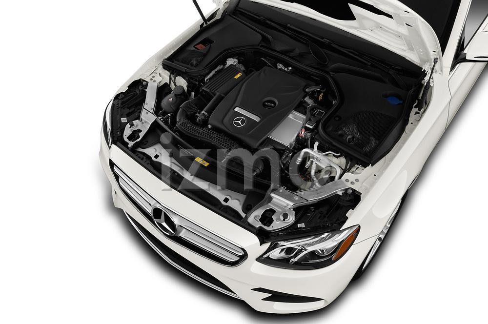 Car stock 2019 Mercedes Benz E-class 300 4 Door Sedan engine high angle detail view
