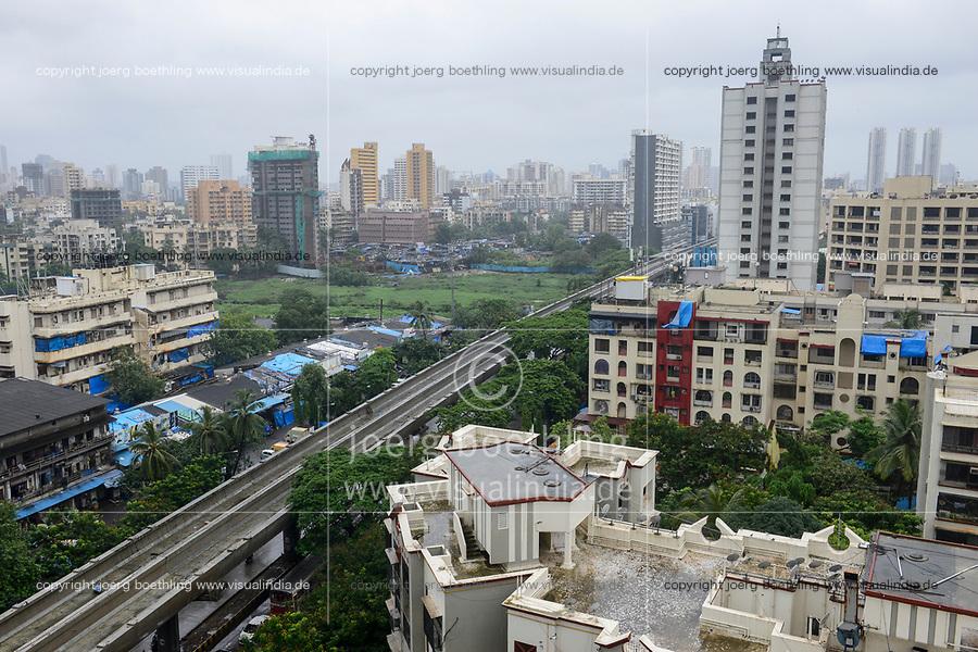 INDIA, Mumbai, suburban Malad, construction of bridges flyovers for new Mumbai Metro constructed by MMRDA Mumbai Metropolitan Region Development Authority and Mumbai Metro Railway Corporation Limited