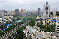 INDIA, Mumbai, suburban Malad, construction of bridges flyovers for new Mumbai Metro constructed by MMRDA Mumbai Metropolitan Region Development Authority and Mumbai Metro Railway Corporation Limited