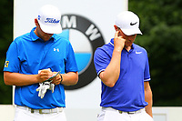 Bernd Weisberger and Oliver Fisher on the 5th tee during the BMW PGA Golf Championship at Wentworth Golf Course, Wentworth Drive, Virginia Water, England on 28 May 2017. Photo by Steve McCarthy/PRiME Media Images.