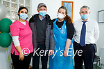 Monty Heffernan from Milltown who received his second vaccine, standing with the staff at the Milltown Medical Centre on Friday. Shannon O'Donoghue, Monty Heffernan, Orla Buckley and Dr Bernard Ruane.