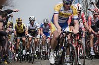 World Champion Alejandro Valverde (ESP/Movistar) up the 'Oude Kwaremont'<br /> <br /> <br /> 103rd Ronde van Vlaanderen 2019<br /> One day race from Antwerp to Oudenaarde (BEL/270km)<br /> <br /> ©kramon