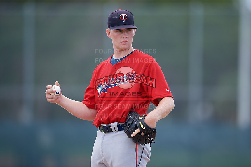 GCL Twins pitcher Bradley Hanner (36) during a Gulf Coast League game against the GCL Pirates on August 6, 2019 at Pirate City in Bradenton, Florida.  GCL Twins defeated the GCL Pirates 1-0 in the second game of a doubleheader.  (Mike Janes/Four Seam Images)