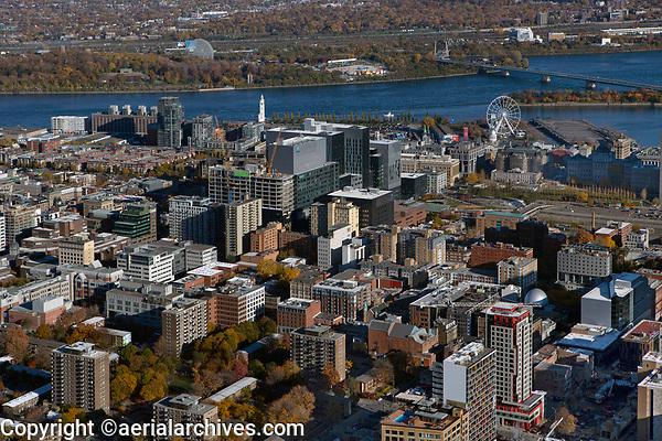aerial photograph of Montreal, Quebec, Canada toward the Old Port of Montreal and the Saint Lawrence river | photographie aérienne de Montréal, Québec, Canada vers le Vieux-Port de Montréal et le fleuve Saint-Laurent