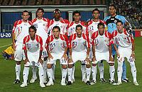 Costa Rica's team, left to right, back row, Marcos Urena (7), Carlos Hernandez (16), Roy Smith (3), Josue Martinez (17), Jose Mena (2), Esteban Alvarado (1), front row, Diego Estrada (10), Diego Madrigal (11), Cristian Gamboa (12), David Guzman (8), Bryan Oviedo (14) pose for a photo before the FIFA Under 20 World Cup Round of 16 match between Egypt and Costa Rica at the Cairo International Stadium on October 06, 2009 in Cairo, Egypt. .. . .. .... .. ..