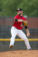Hickory Crawdads relief pitcher Shane McCain (28) in action against the West Virginia Power at L.P. Frans Stadium on August 15, 2015 in Hickory, North Carolina.  The Power defeated the Crawdads 9-0.  (Brian Westerholt/Four Seam Images)