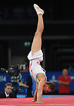 Wales' Harry Owen completes his floor routine<br /> <br /> Gymnastics artistic - Team final & Individual Qualification <br /> <br /> Photographer Chris Vaughan/Sportingwales<br /> <br /> 20th Commonwealth Games - Day 5 - Monday 28th July 2014 - Gymnastics artistic - The SSE Hydro - Glasgow - UK