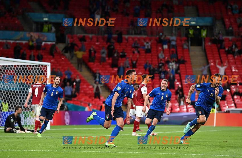LONDON, ENGLAND - JUNE 26: Matteo Pessina of Italy celebrates after scoring their side's second goal during the UEFA Euro 2020 Championship Round of 16 match between Italy and Austria at Wembley Stadium at Wembley Stadium on June 26, 2021 in London, England. (Photo by Shaun Botterill - UEFA/UEFA via Getty Images)<br /> Photo Uefa/Insidefoto ITA ONLY