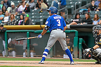 T.J. Rivera (3) of the Las Vegas 51s at bat against the Salt Lake Bees in Pacific Coast League action at Smith's Ballpark on September 4, 2016 in Salt Lake City, Utah. The Bees defeated the 51s 4-3. (Stephen Smith/Four Seam Images)