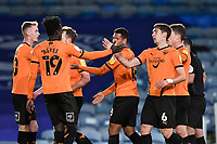 Alex Gorrin of Oxford United right is congratulated on scoring from the penalty spot to make the score 1-1 during Portsmouth vs Oxford United, Sky Bet EFL League 1 Football at Fratton Park on 24th November 2020