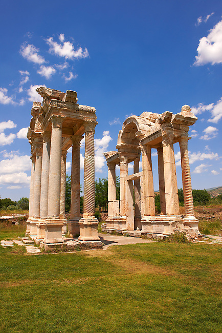 """Picture of the double Tetrapylon Gate, Aphrodisias, Turkey. A tetrapylon (Greek: Τετράπυλον, """"four gates"""") is an ancient type of Roman monument of cubic shape, with a gate on each of the four sides: generally it was built on a crossroads. stock photos & photo art prints. 5"""