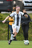 Estelle Dessilly (13) of Sporting Charleroi with the ball pictured during a female soccer game between Sporting Charleroi and KRC Genk on the 4 th matchday in play off 2 of the 2020 - 2021 season of Belgian Scooore Womens Super League , friday 30 th of April 2021  in Marcinelle , Belgium . PHOTO SPORTPIX.BE | SPP | Jill Delsaux