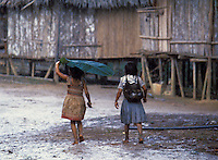Two young native Yagua girls walk through their village in the rain. One uses a large leaf for an umbrella. Their village is situated along the Amazon River near Leticia, Colombia