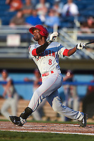Auburn Doubledays outfielder Dale Carey (8) at bat during a game against the Batavia Muckdogs on August 27, 2014 at Dwyer Stadium in Batavia, New York.  Auburn defeated Batavia 6-4.  (Mike Janes/Four Seam Images)