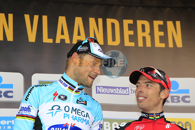 Tom Boonen (BEL) Omega Pharma-Quickstep wins with Alessandro Ballan (ITA) BMC Racing Team 3rd place on the podium the 96th edition of The Tour of Flanders 2012 , running 256.9km from Bruges to Oudenaarde, Belgium. 1st April 2012. <br /> (Photo by Eoin Clarke/NEWSFILE).