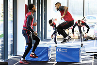 (L-R) Leroy Fer and Luciano Narsingh exercise in the gym during the Swansea City Training at The Fairwood Training Ground, Swansea, Wales, UK. Friday 15 December 2017