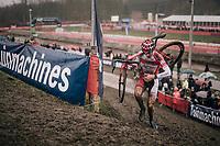undisputed race leader Ryan Cortjens (BEL) racing towards victory<br /> <br /> Junior Men's Race<br /> Belgian National CX Championschips<br /> Kruibeke 2019